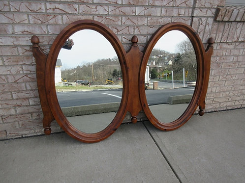 Unique double connected oval wood framed wall mirrors, 38x58