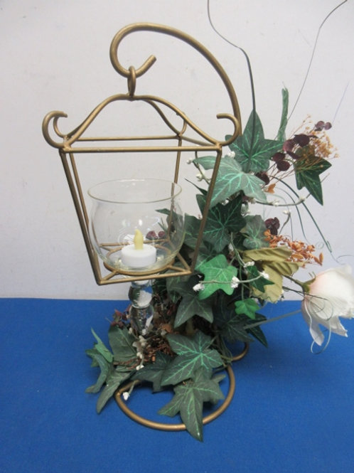 Gold metal candle lantern on stand with ivy accent