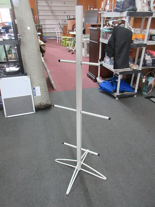 """Children's white metal and wood coat tree, 54"""" tall"""
