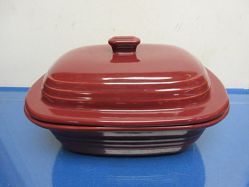Pampered Chef deep covered stoneware baker with lid-burgundy- Never used