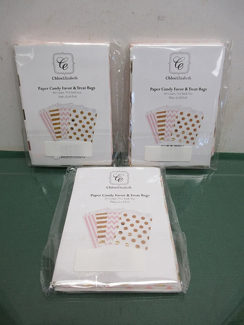 Set of 3 Chloe Elizabeth packages of 48 paper candy favor and treat bags - 4 set