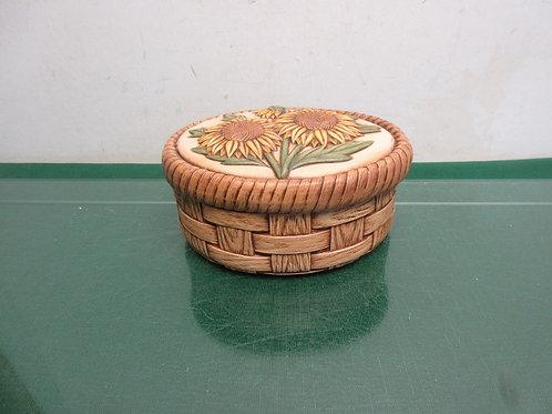 "Oval ceramic keepsake box w/sunflower on lid 6x4x3""high"