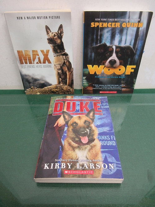 Set of 3 canine books for young adults - woof, duke, max and more
