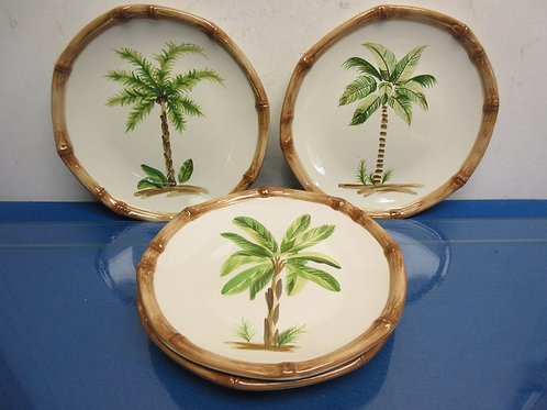 Set of 4 plates with palm trees and bamboo design edges