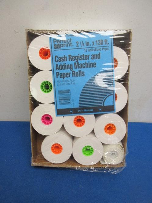 "Cash register/adding machine paper rolls - 2 1/4"" - box of 11 rolls"
