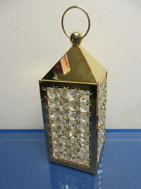 "Valerie Parr 14.5"" illuminated faceted gem lantern - gold - brand new"