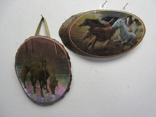 """Set of 2 foil accented prints of horses on slices of wood(log) 4x8"""""""