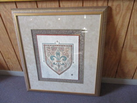 Crest print with multi mat gold frame - 35x38