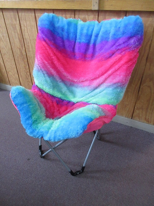Justice multi colored fluffy w/pink back butterfly chair with folding base