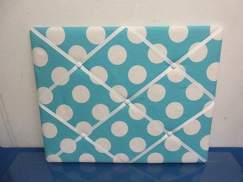 "Aqua & white polka dot cloth and ribbon memo board, 16x20"""
