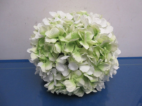 """Wicker Park 11"""" faux floral indoor/outdoor hydrangea sphere ,white- - new"""