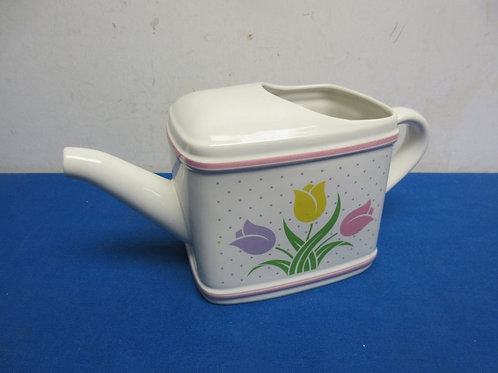 Ceramic gardening watering can with tulip design on the side