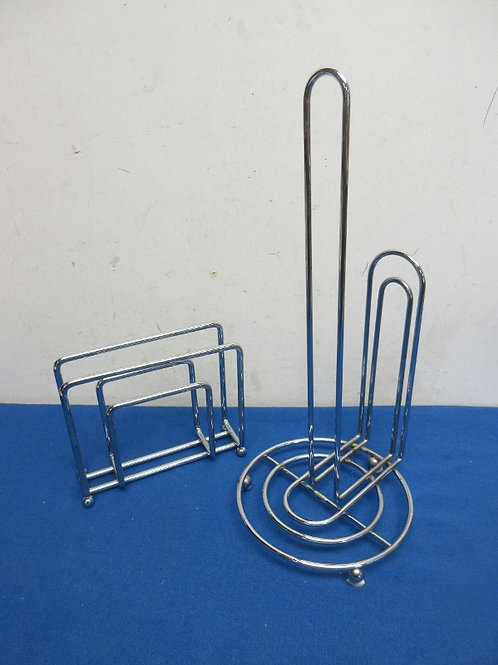 Chrome counter top papertowel holder and napkin holder