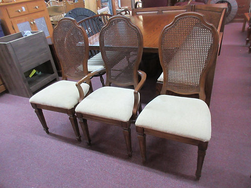 Set of 3 cane back dining chairs w/tan upholstered seats