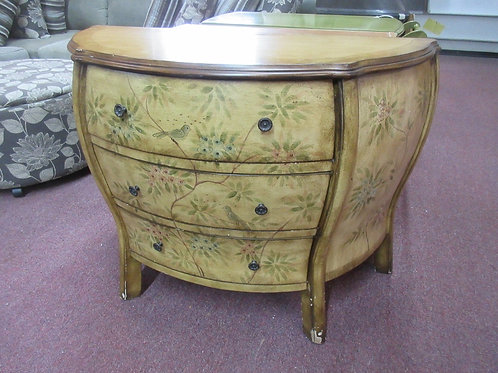 Curved front 3 drawer chest with floral design 18x41x31 & matching oval mirror 2