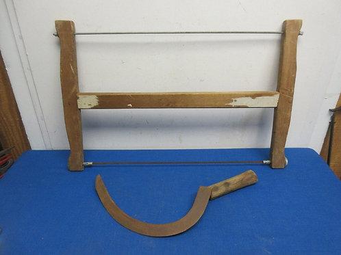Antique wood 2 man bow saw & vintage short handle sickle