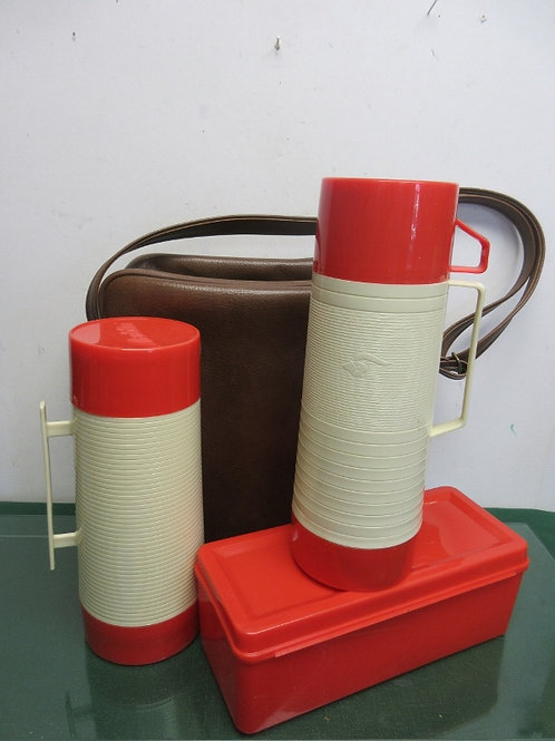 Heavy duty brown carry all with 2 Aladdin thermos' and one container