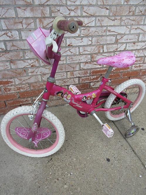 "Pink 15"" girls princess bike with training wheels"