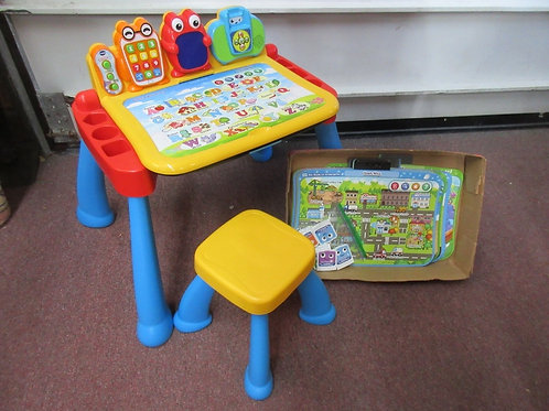 V-Tech touch and learn deluxe activity desk with seat and extra accessories
