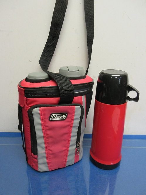 Coleman half gallon drink container in insulated pouch & lunch style thermos