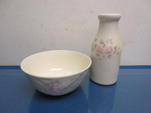 "Pfaltzgraffz ""tea rose ""medium serving bowl and milk bottle creamer"