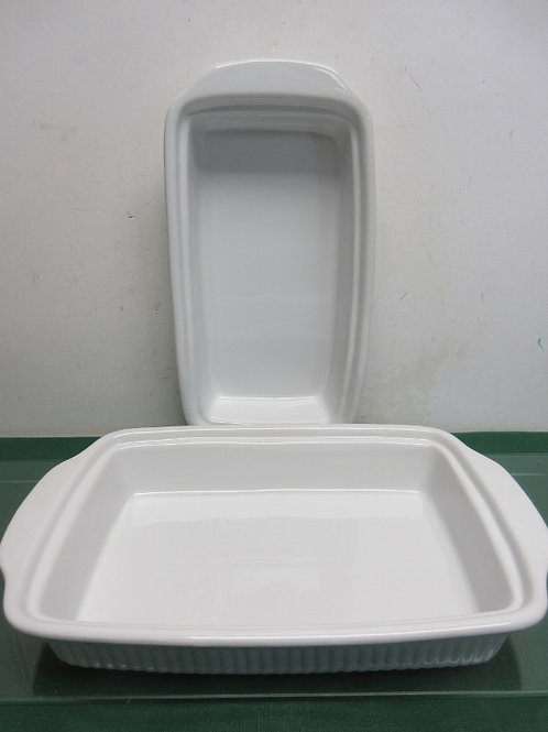 "French white style rectangular baking dishes, 6x13"" and 7x13"""