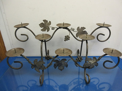 Silver heavy duty 2 tier pillar candle stand w/leaf decor, holds 8 candles
