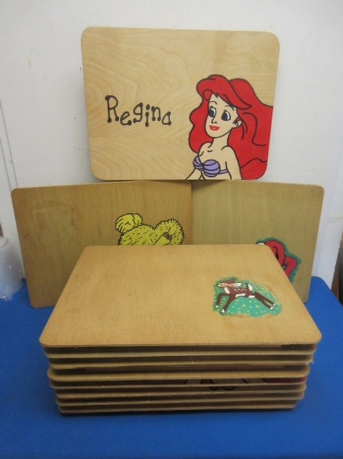Set of 11 vintage wooden lap desks with various characters painted