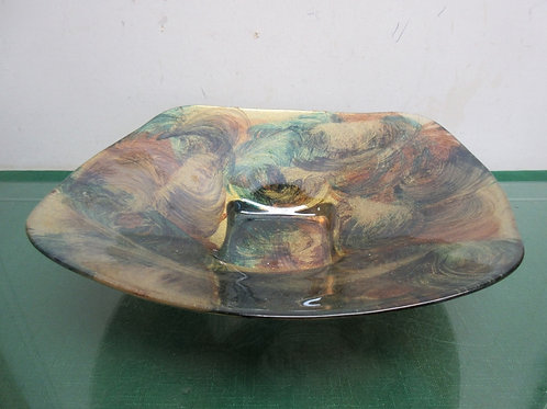 Decorative square glass bowl with swirled design and gold underside 12x12x3