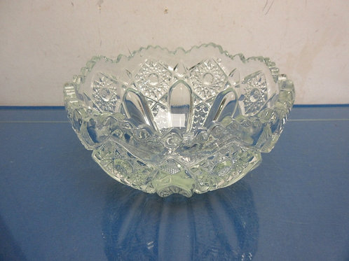 Heavy round cut glass bowl