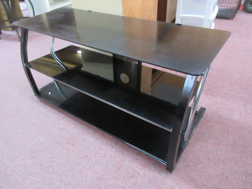 Black metal 3 tier tv stand with black glass - 18x44x20