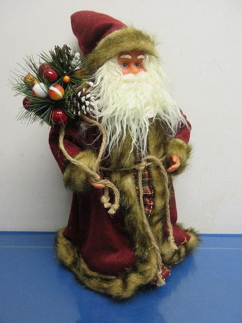 "Old World Santa in burgundy robe 20"" high"