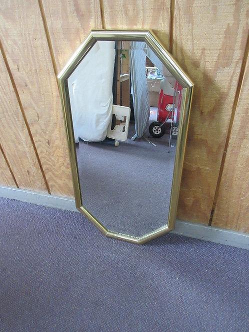 "Elongated octagon gold framed mirror 18x34"""