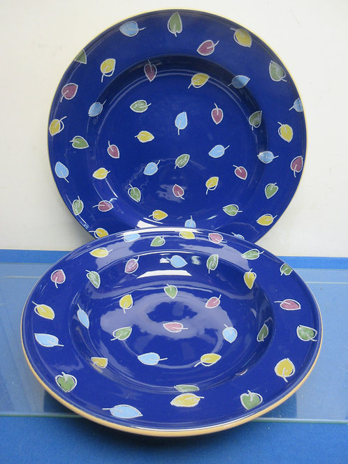 Pier 1 blue leave design large pasta bowl and matching platter