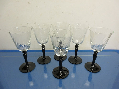 Set of 6 wine glasses with black stems