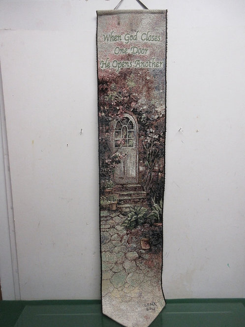 """Tapestry vertical wall hanging """"When god opens with door..."""" 8x41"""""""
