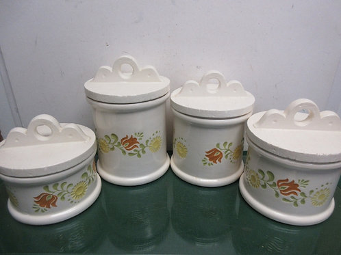 Handmade ceramic set of 4 large ceramic canisters