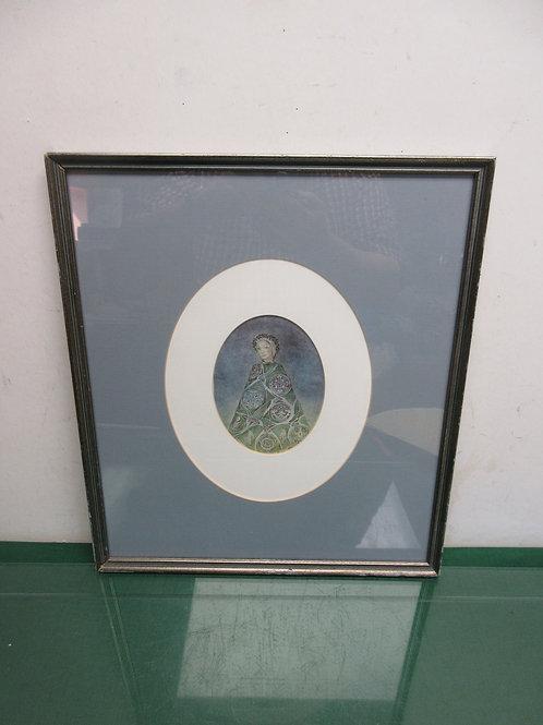 Vintage oval print of lady, white & gray mat, metal frame 14x16