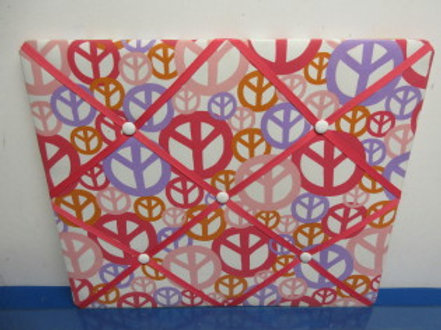 Cloth and ribbon message/photo board,peace symbol design, 16x19