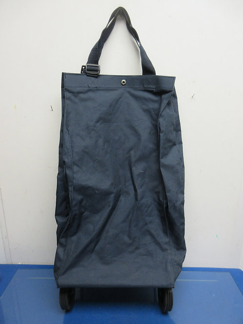 Navy blue folding shopping bag on wheels