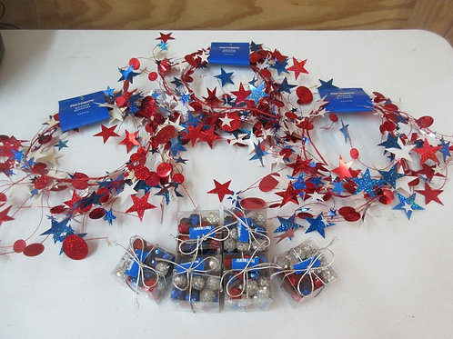 Pier 1 Americana décor three 5ft garlands and 6 boxes of small gillter balls
