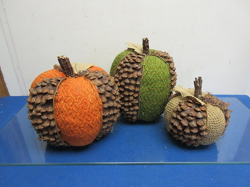 Set of 3 fall cloth and pine cone style pumpkins-large med. small