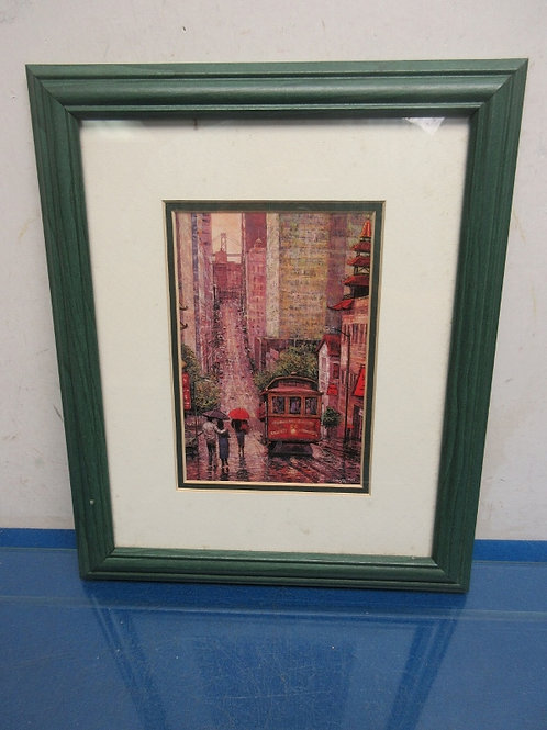 Picture of San Francisco cable car, bridge in background, green wood frame 9x12""