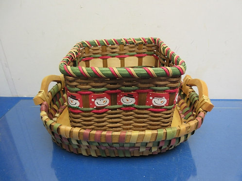 "Pair of woven basket 8x8x6"" and 11x14x4"" oval with wood base & handles"