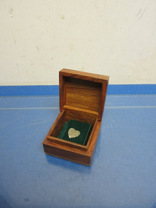 Stainless heart shaped pin with cross in hand carved storage wood box