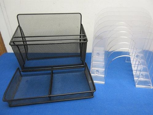 Pair of black metal mesh desk organizers & cl;ear plastic 6 slot organizer