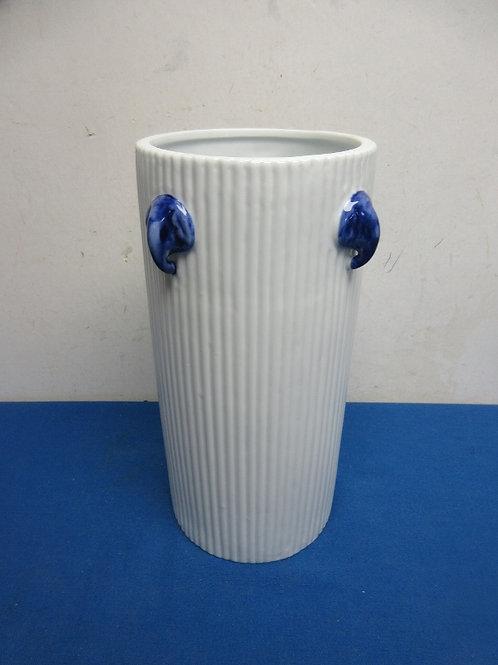 White porcelain narrow vase with blue asian elephant décor