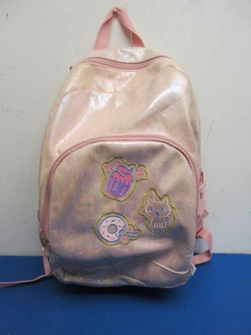 Pink bespeckled back pack