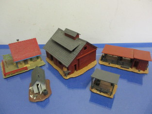 HO train set up accessories - barn, house, corral, and 2 small sheds all  gued to