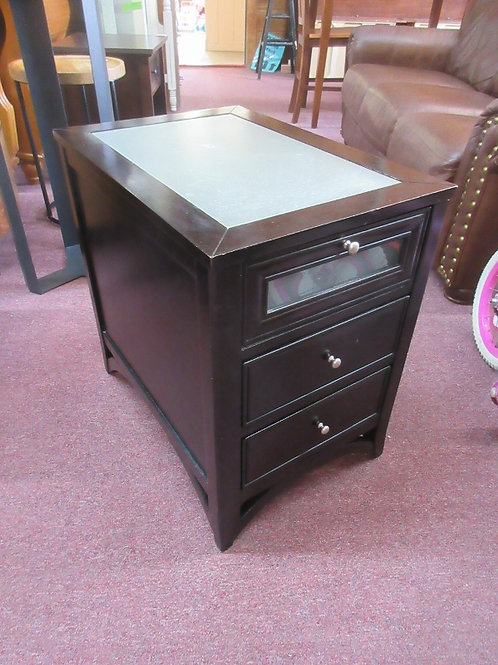 """Black 3 drawer end table with opaque glass top, 18x26x26"""" high"""